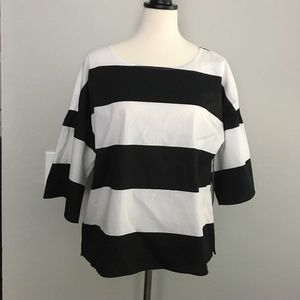 Vince Camuto Black and White Striped Blouse NWT S